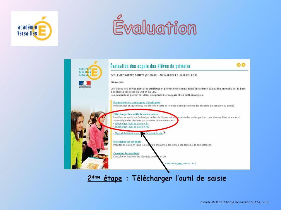 Attention, si vous utilisez OpenOffice.org Calc, au moment de lenregistrement au format.csv, choisir : Jeu de caractères : Europe occidentale (ISO-8859-15/EURO) Séparateur de champ : ; (point virgule) Séparateur de texte : aucun Claude MOINE Chargé de mission SI1D 01/09