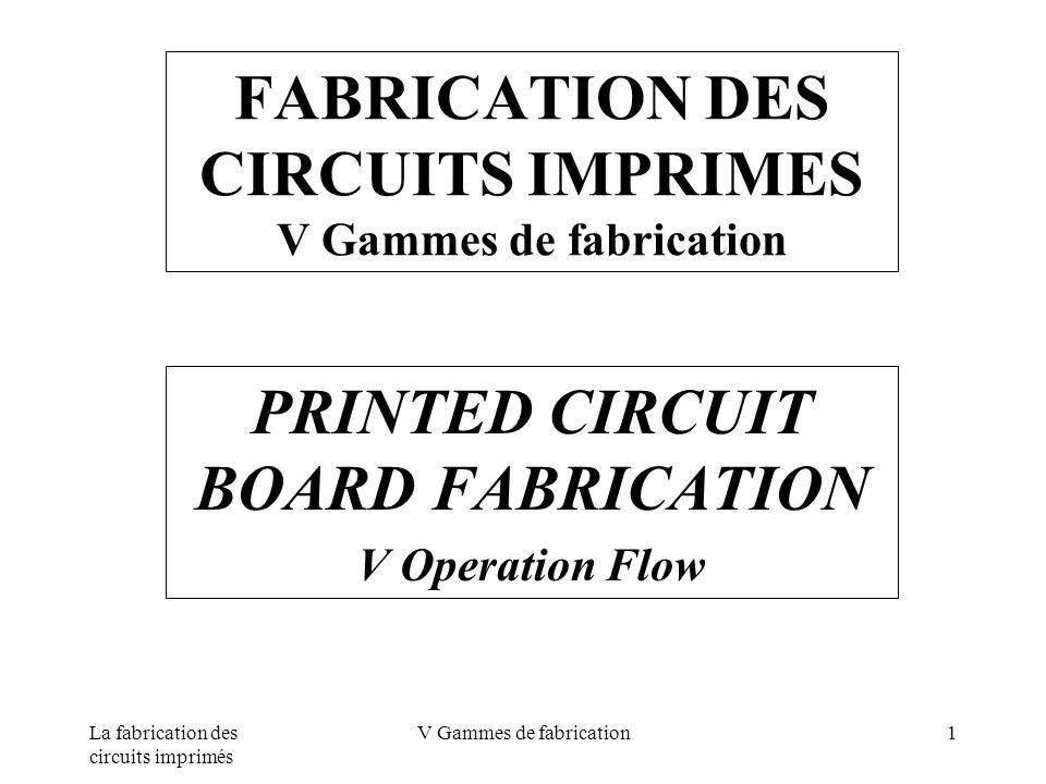 La fabrication des circuits imprimés V Gammes de fabrication1 FABRICATION DES CIRCUITS IMPRIMES V Gammes de fabrication PRINTED CIRCUIT BOARD FABRICAT