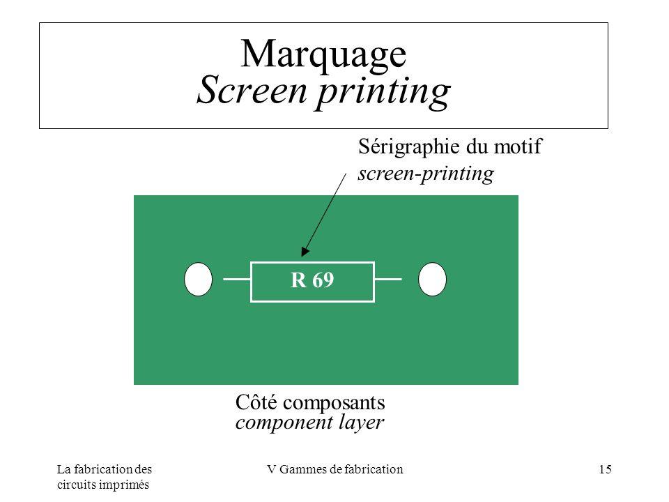 La fabrication des circuits imprimés V Gammes de fabrication15 Marquage Screen printing R 69 Côté composants component layer Sérigraphie du motif scre