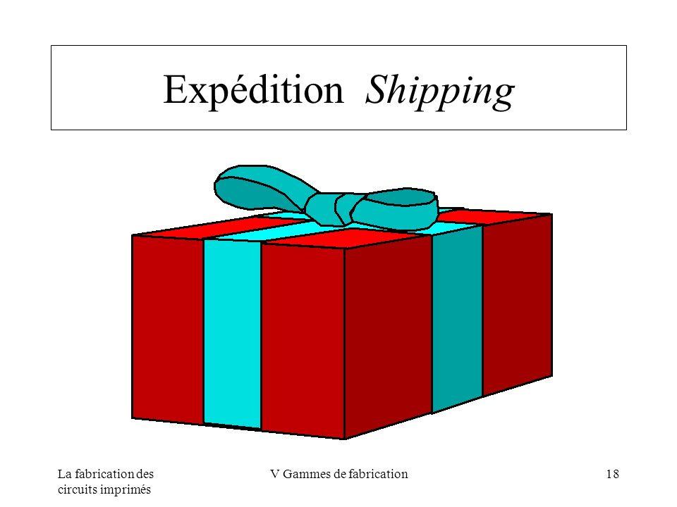 La fabrication des circuits imprimés V Gammes de fabrication18 Expédition Shipping
