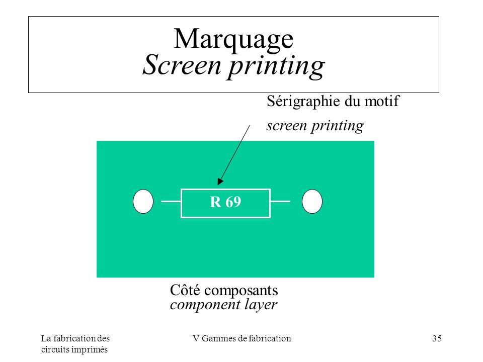 La fabrication des circuits imprimés V Gammes de fabrication35 Marquage Screen printing R 69 Côté composants component layer Sérigraphie du motif scre