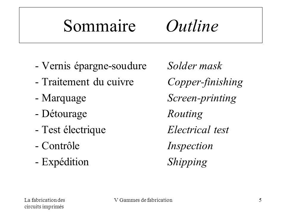 La fabrication des circuits imprimés V Gammes de fabrication5 Sommaire Outline - Vernis épargne-soudureSolder mask - Traitement du cuivre Copper-finis
