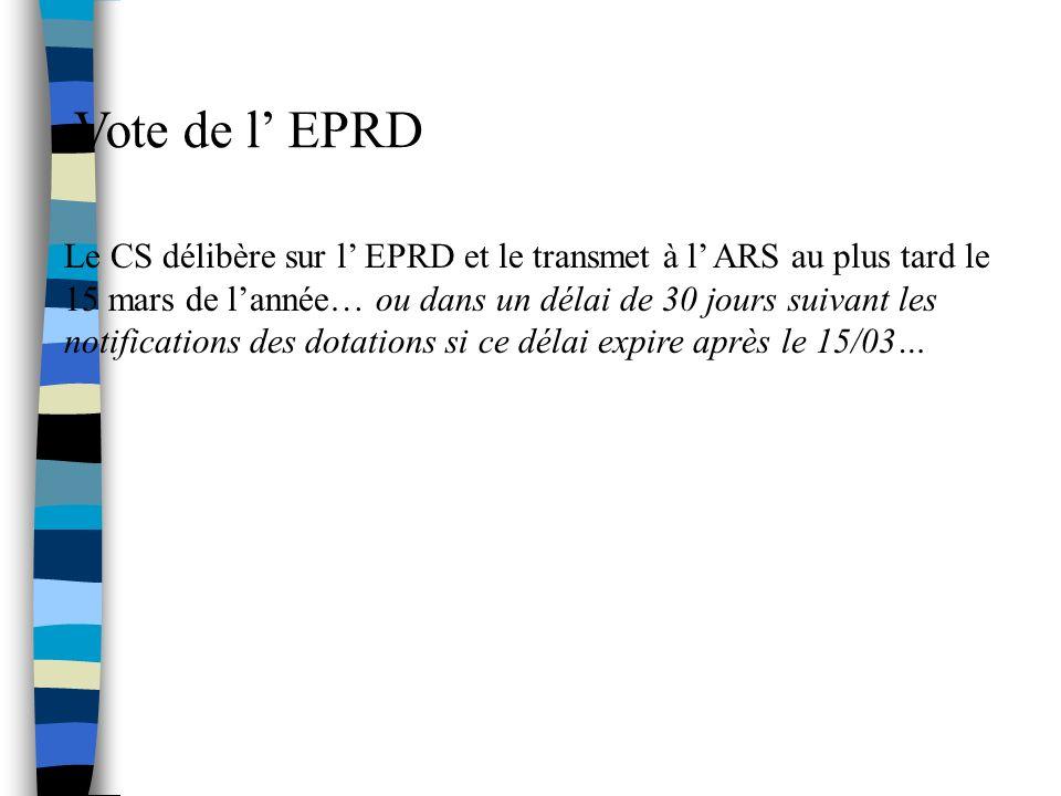 Vote de l EPRD Le CS délibère sur l EPRD et le transmet à l ARS au plus tard le 15 mars de lannée… ou dans un délai de 30 jours suivant les notifications des dotations si ce délai expire après le 15/03…
