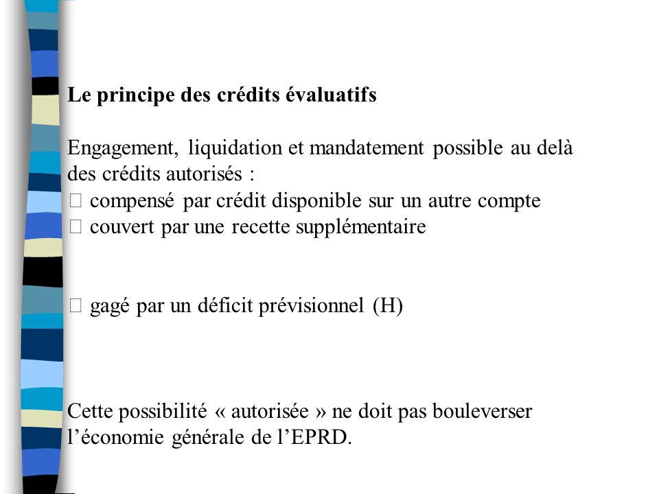 Le principe des crédits évaluatifs Engagement, liquidation et mandatement possible au delà des crédits autorisés : compensé par crédit disponible sur
