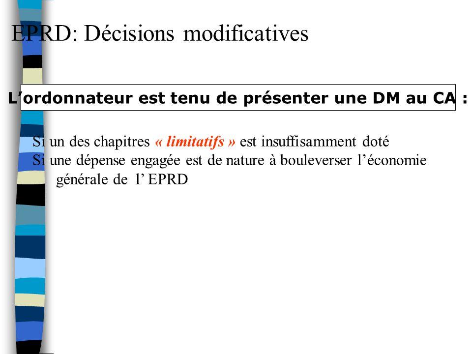 EPRD: Décisions modificatives Si un des chapitres « limitatifs » est insuffisamment doté Si une dépense engagée est de nature à bouleverser léconomie