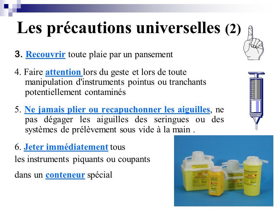 Les précautions universelles (2) 3.Recouvrir toute plaie par un pansement 4.