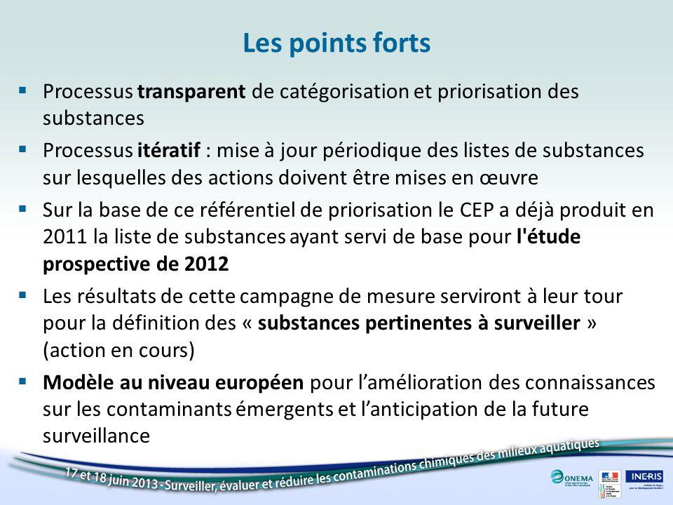 Les points forts Processus transparent de catégorisation et priorisation des substances Processus itératif : mise à jour périodique des listes de subs