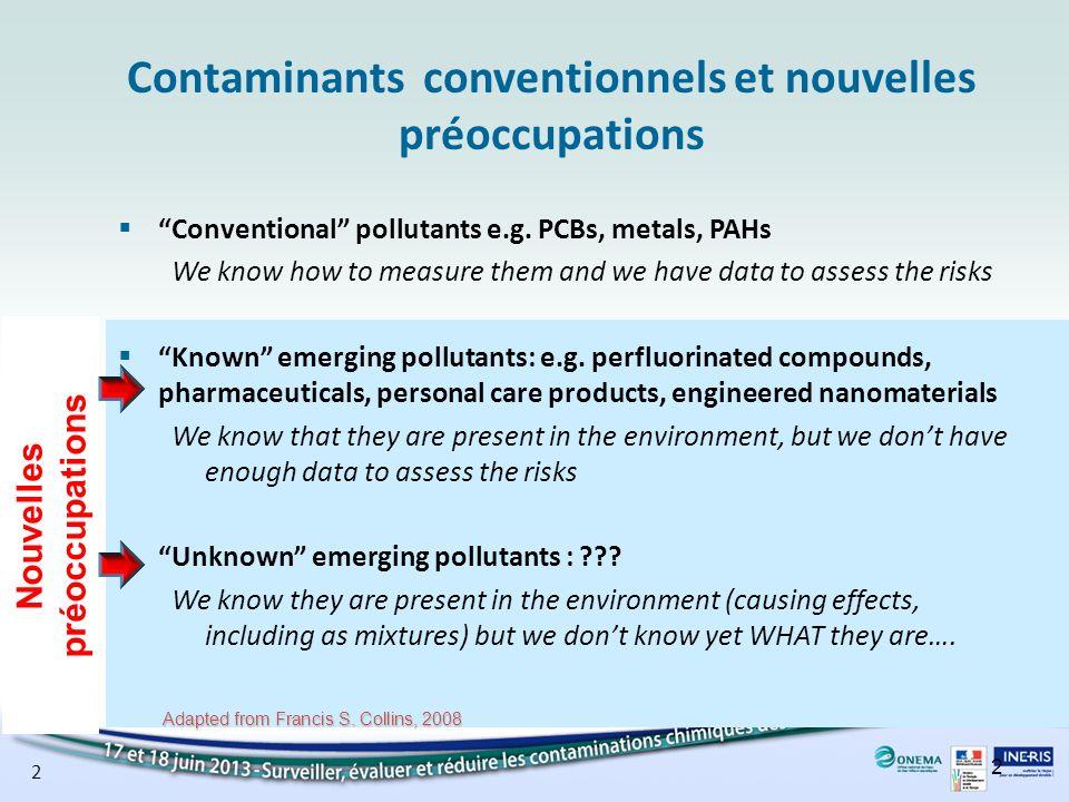2 Contaminants conventionnels et nouvelles préoccupations Conventional pollutants e.g. PCBs, metals, PAHs We know how to measure them and we have data