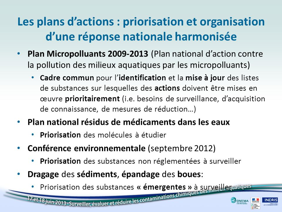 Les plans dactions : priorisation et organisation dune réponse nationale harmonisée Plan Micropolluants 2009-2013 (Plan national daction contre la pol