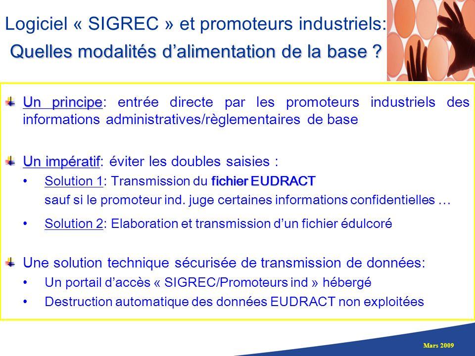 Mars 2009 Quelles modalités dalimentation de la base ? Logiciel « SIGREC » et promoteurs industriels: Quelles modalités dalimentation de la base ? Un