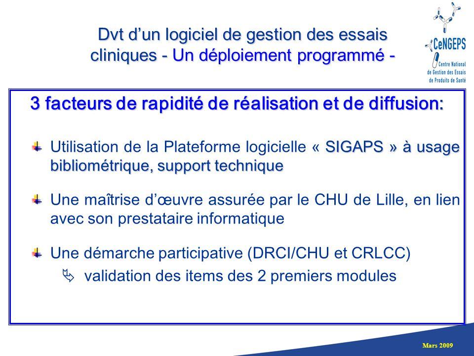 Mars 2009 3 facteurs de rapidité de réalisation et de diffusion: SIGAPS » à usage bibliométrique, support technique Utilisation de la Plateforme logic