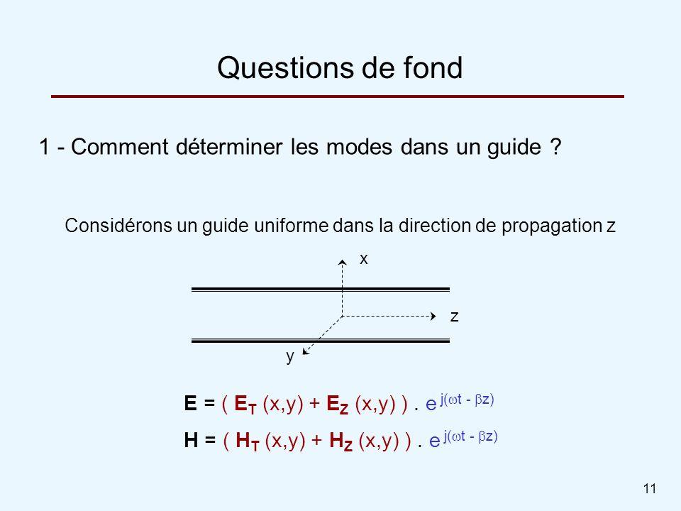 11 1 - Comment déterminer les modes dans un guide ? Questions de fond Considérons un guide uniforme dans la direction de propagation z E = ( E T (x,y)