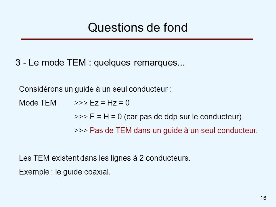 16 3 - Le mode TEM : quelques remarques... Questions de fond Considérons un guide à un seul conducteur : Mode TEM >>> Ez = Hz = 0 >>> E = H = 0 (car p