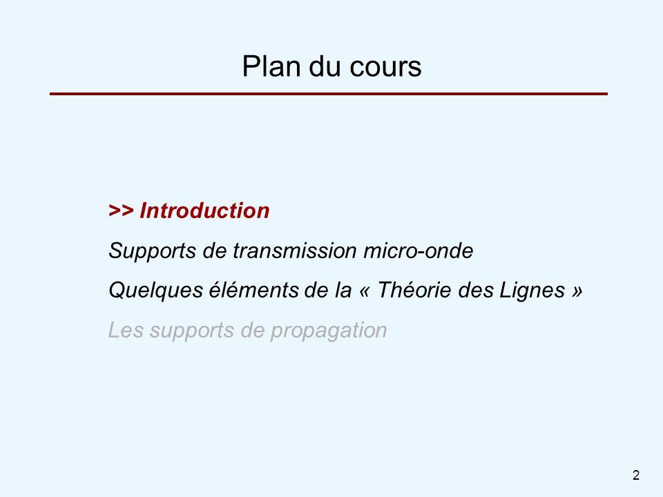 2 Plan du cours >> Introduction Supports de transmission micro-onde Quelques éléments de la « Théorie des Lignes » Les supports de propagation