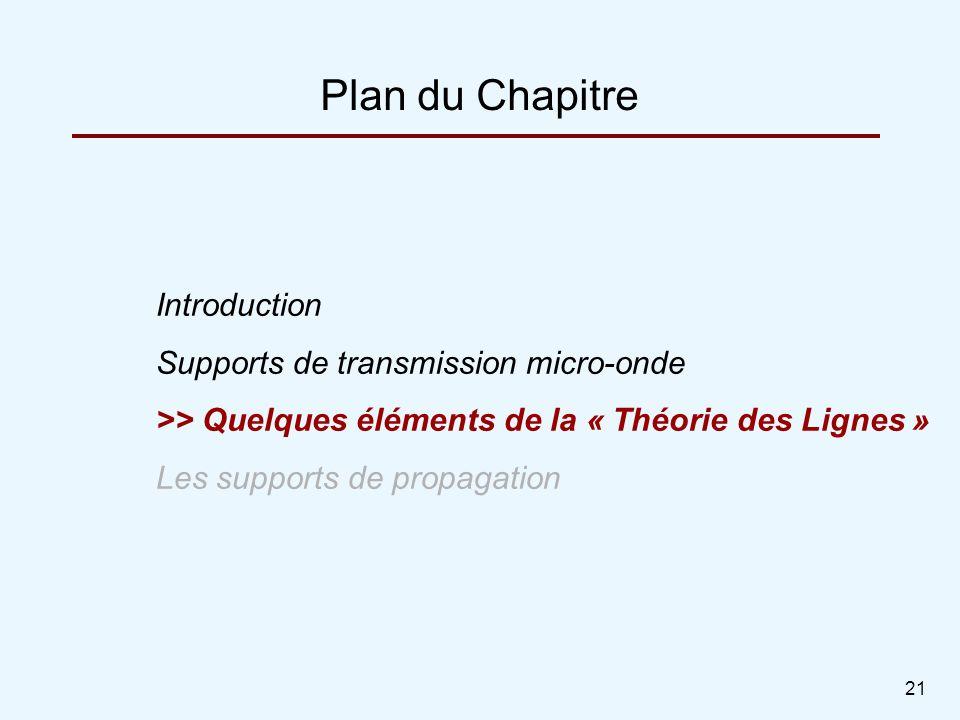 21 Plan du Chapitre Introduction Supports de transmission micro-onde >> Quelques éléments de la « Théorie des Lignes » Les supports de propagation