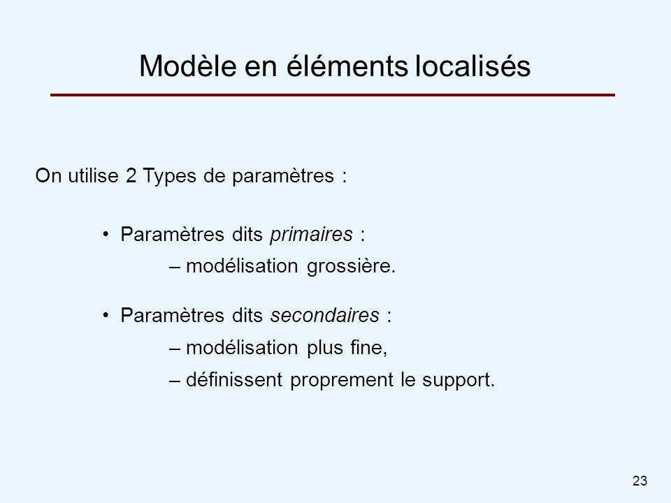 23 Modèle en éléments localisés On utilise 2 Types de paramètres : Paramètres dits primaires : – modélisation grossière. Paramètres dits secondaires :