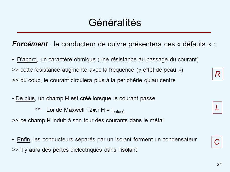 24 Généralités Forcément, le conducteur de cuivre présentera ces « défauts » : Dabord, un caractère ohmique (une résistance au passage du courant) >>