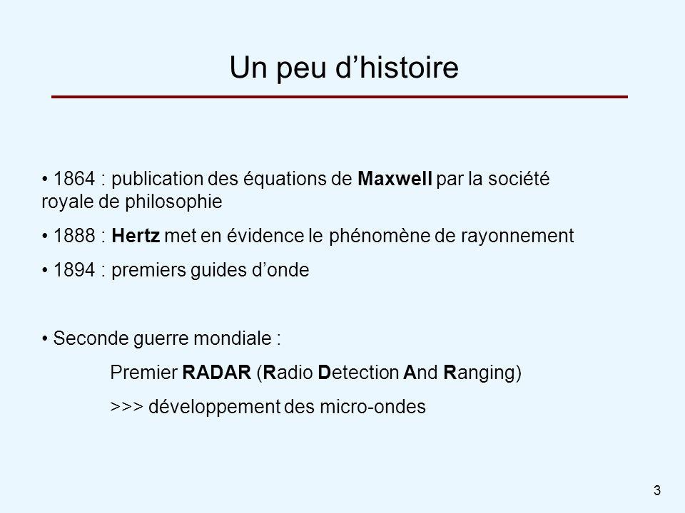 3 Un peu dhistoire 1864 : publication des équations de Maxwell par la société royale de philosophie 1888 : Hertz met en évidence le phénomène de rayon