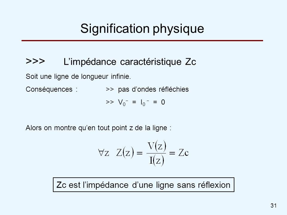 31 >>> Limpédance caractéristique Zc Soit une ligne de longueur infinie. Conséquences :>> pas dondes réfléchies >> V 0 = I 0 = 0 Alors on montre quen