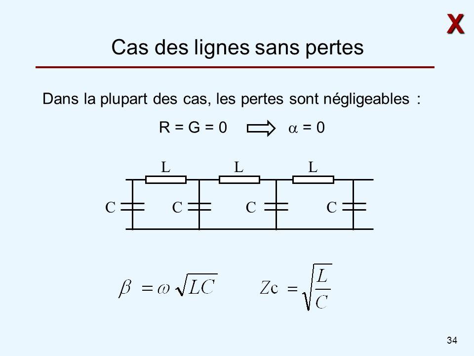 34 Cas des lignes sans pertes LLL CCCC X Dans la plupart des cas, les pertes sont négligeables : R = G = 0 = 0