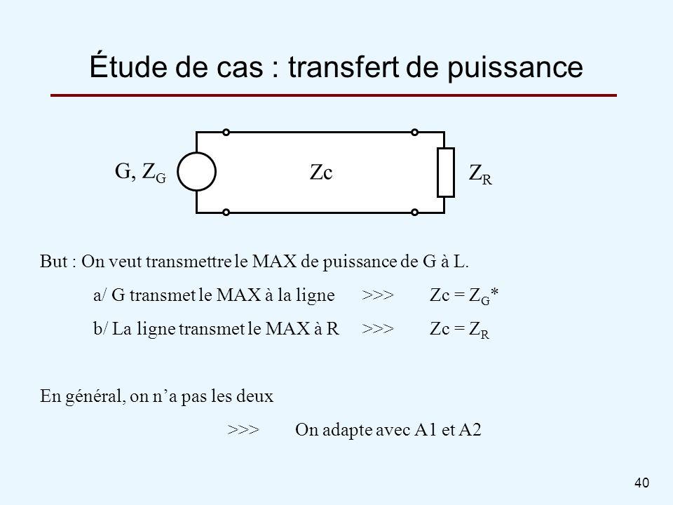 40 But : On veut transmettre le MAX de puissance de G à L. a/ G transmet le MAX à la ligne>>>Zc = Z G * b/ La ligne transmet le MAX à R>>>Zc = Z R En