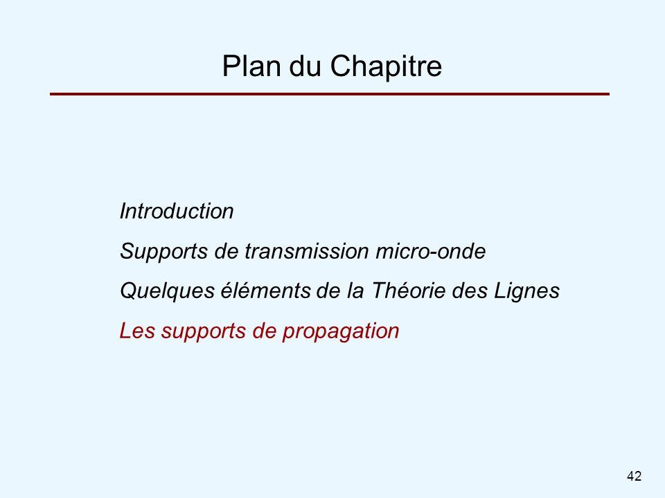 42 Plan du Chapitre Introduction Supports de transmission micro-onde Quelques éléments de la Théorie des Lignes Les supports de propagation