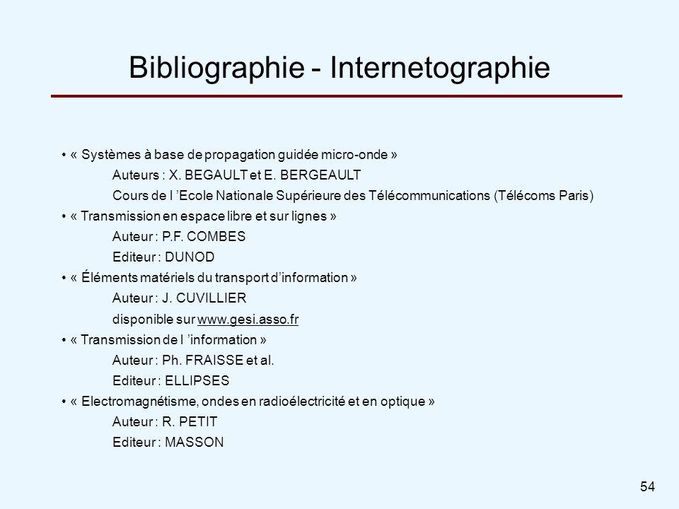 54 « Systèmes à base de propagation guidée micro-onde » Auteurs : X. BEGAULT et E. BERGEAULT Cours de l Ecole Nationale Supérieure des Télécommunicati