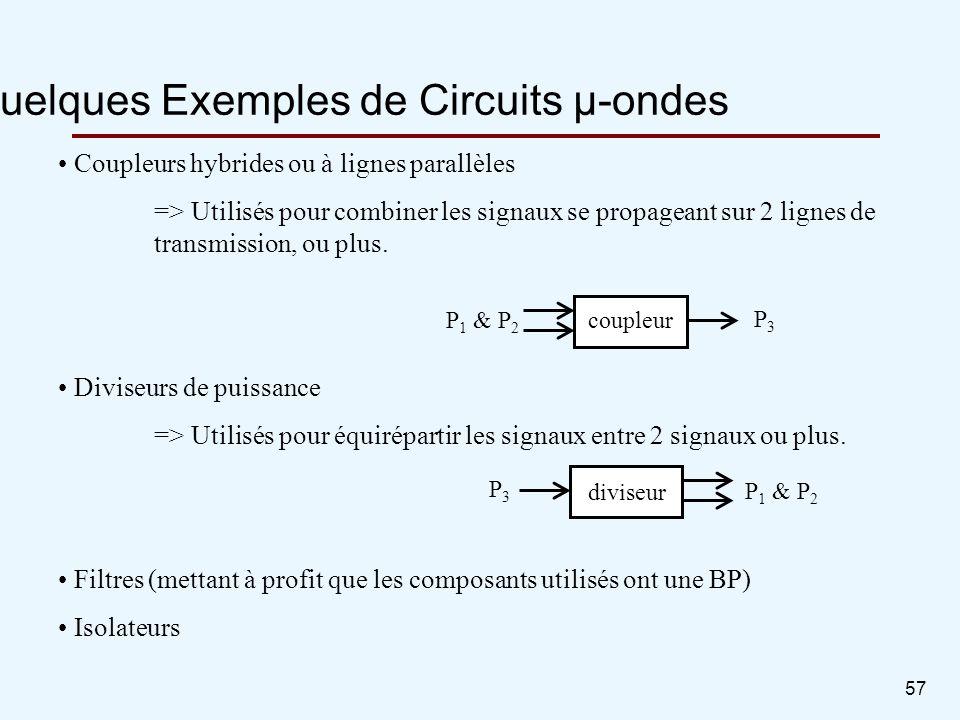 57 Quelques Exemples de Circuits µ-ondes Coupleurs hybrides ou à lignes parallèles => Utilisés pour combiner les signaux se propageant sur 2 lignes de
