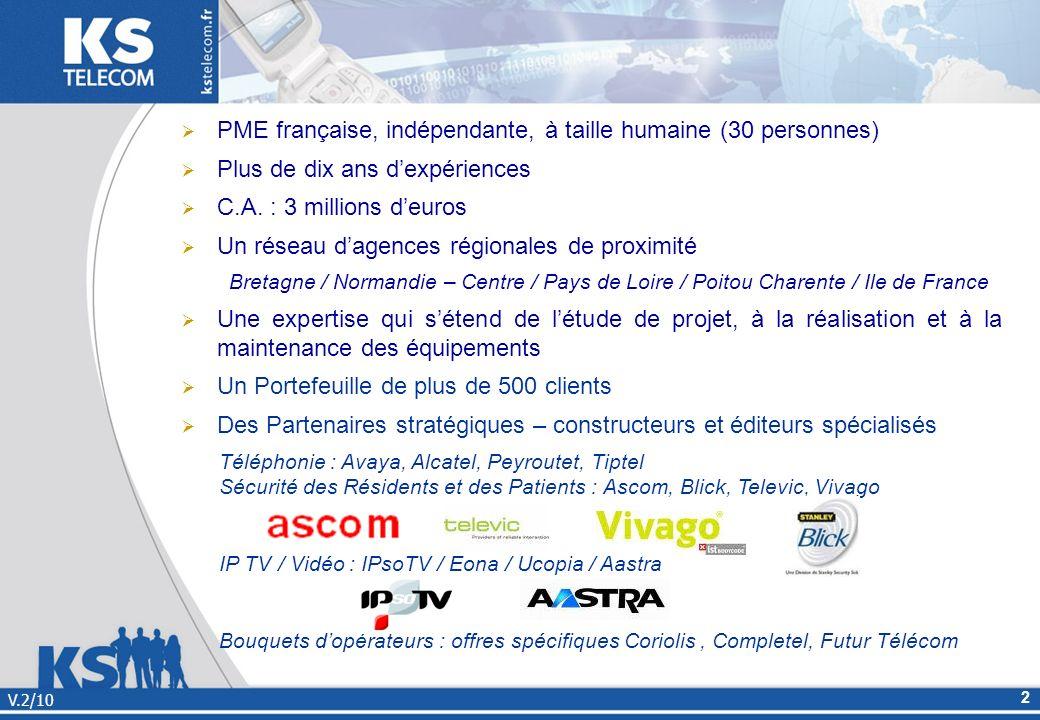 PME française, indépendante, à taille humaine (30 personnes) Plus de dix ans dexpériences C.A. : 3 millions deuros Un réseau dagences régionales de pr