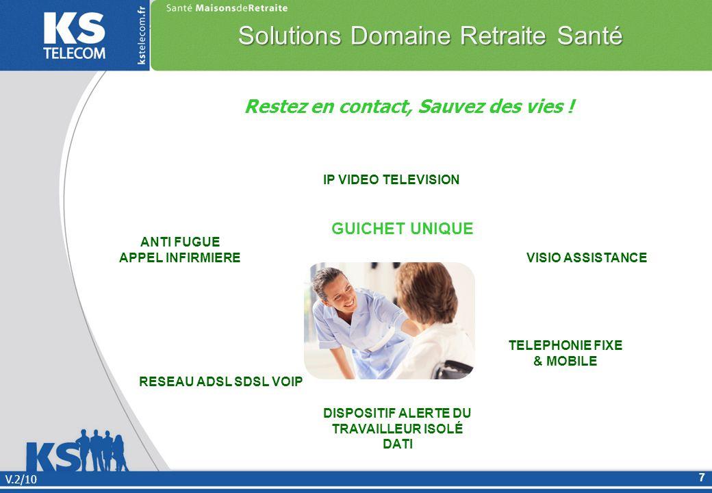 V.2/10 7 Solutions Domaine Retraite Santé IP VIDEO TELEVISION TELEPHONIE FIXE & MOBILE ANTI FUGUE APPEL INFIRMIERE RESEAU ADSL SDSL VOIP VISIO ASSISTA