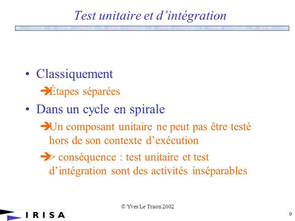 Yves Le Traon 2002 9 Test unitaire et dintégration Classiquement Étapes séparées Dans un cycle en spirale Un composant unitaire ne peut pas être testé hors de son contexte dexécution > conséquence : test unitaire et test dintégration sont des activités inséparables