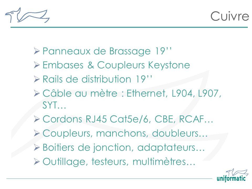 Cuivre Panneaux de Brassage 19 Embases & Coupleurs Keystone Rails de distribution 19 Câble au mètre : Ethernet, L904, L907, SYT… Cordons RJ45 Cat5e/6,