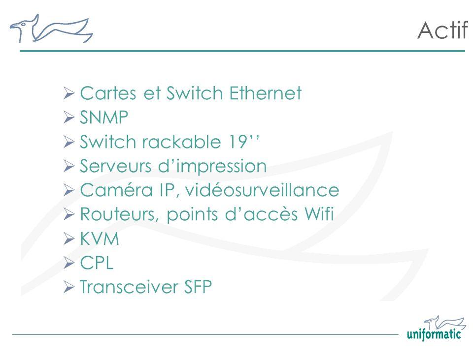 Actif Cartes et Switch Ethernet SNMP Switch rackable 19 Serveurs dimpression Caméra IP, vidéosurveillance Routeurs, points daccès Wifi KVM CPL Transce