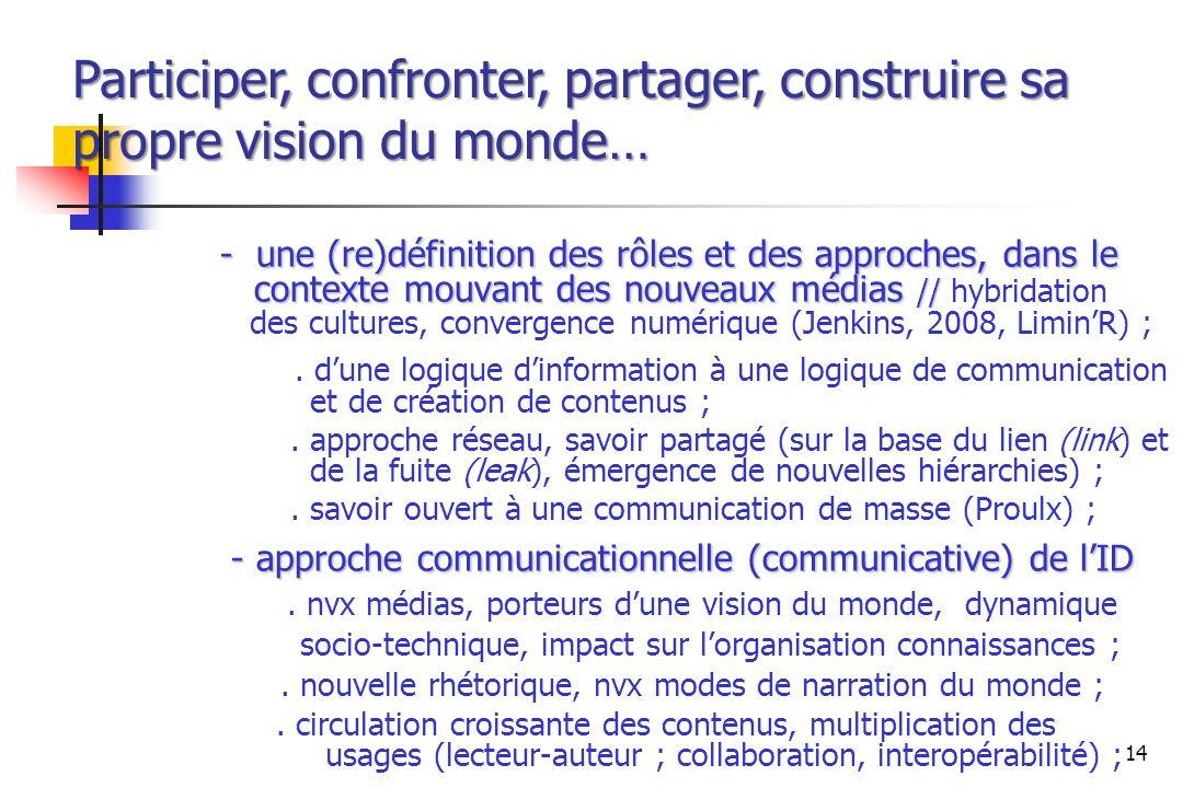 - une (re)définition des rôles et des approches, dans le contexte mouvant des nouveaux médias // - une (re)définition des rôles et des approches, dans