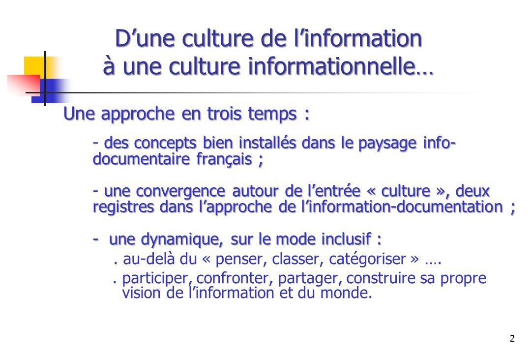 Dune culture de linformation à une culture informationnelle… Une approche en trois temps : des concepts bien installés dans le paysage info- documenta