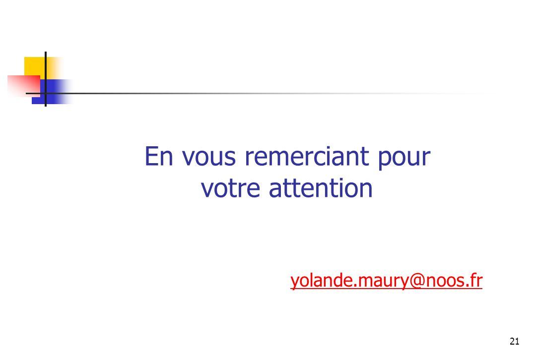 En vous remerciant pour votre attention yolande.maury@noos.fr 21