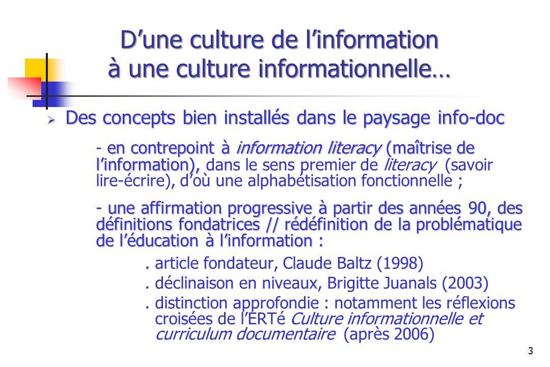 Dune culture de linformation à une culture informationnelle… Des concepts bien installés dans le paysage info-doc Des concepts bien installés dans le