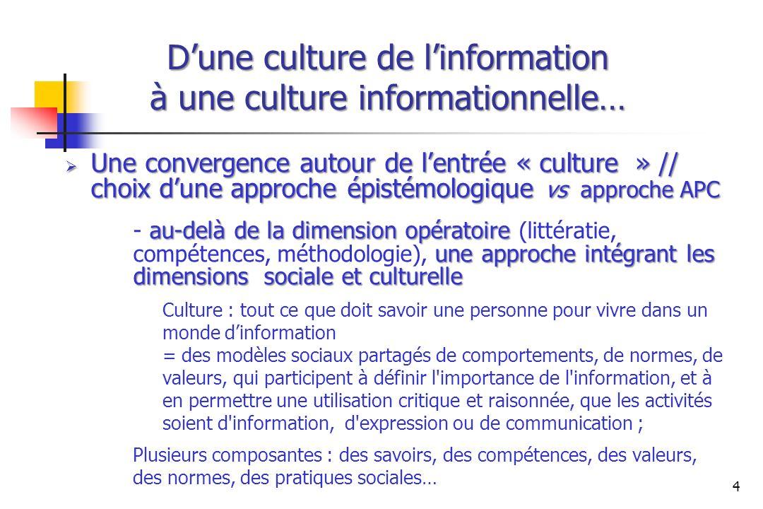 Dune culture de linformation à une culture informationnelle… Une convergence autour de lentrée « culture » // choix dune approche épistémologique vs a