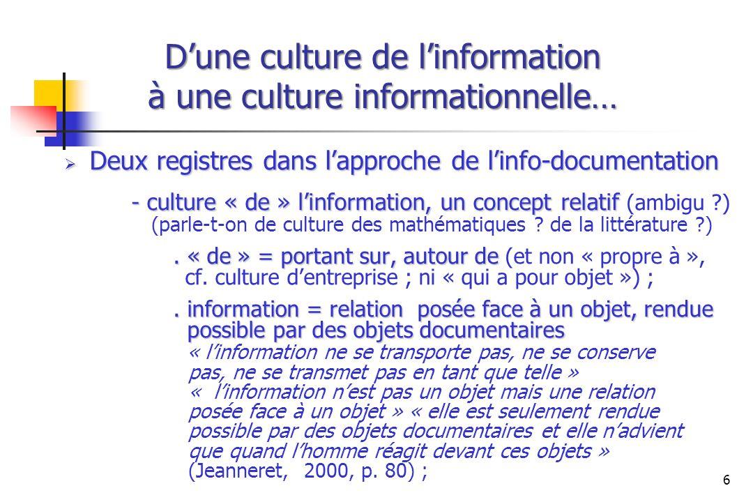 Dune culture de linformation à une culture informationnelle… Deux registres dans lapproche de linfo-documentation Deux registres dans lapproche de lin
