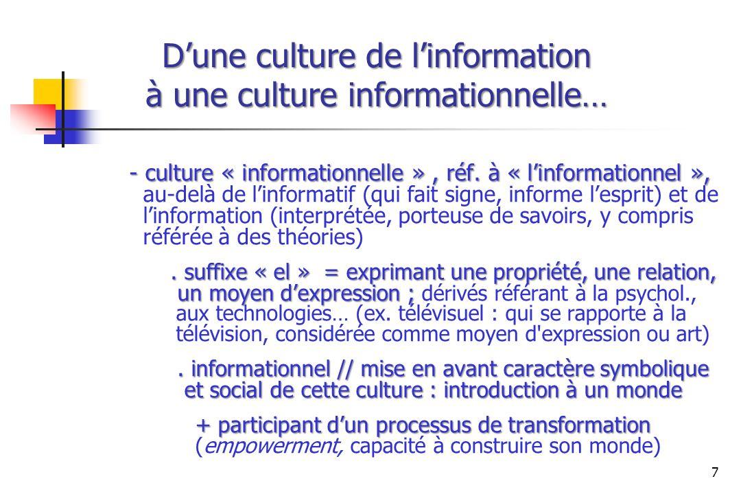 Dune culture de linformation à une culture informationnelle… - culture « informationnelle », réf. à « linformationnel », - culture « informationnelle