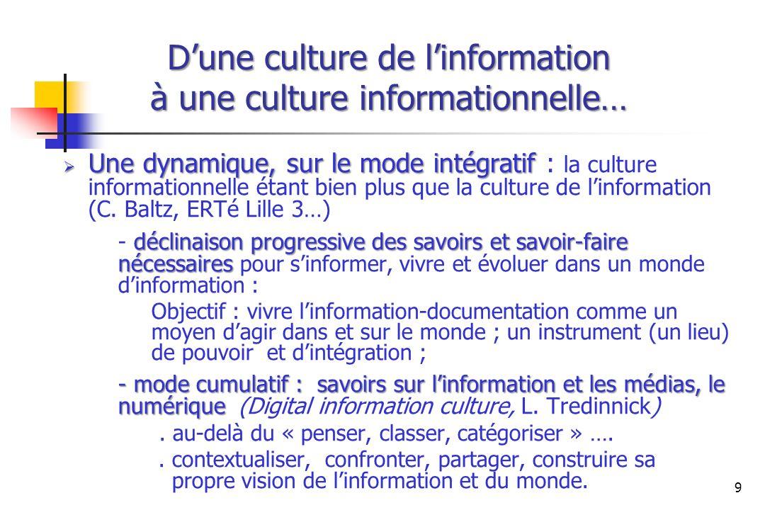 Dune culture de linformation à une culture informationnelle… Une dynamique, sur le mode intégratif Une dynamique, sur le mode intégratif : la culture