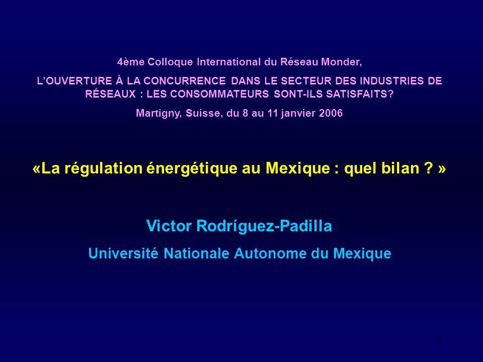 2 Lobjectif de cette communication est de dresser un bilan préliminaire et panoramique de la pratique de la régulation au Mexique et de son impact sur les consommateurs.