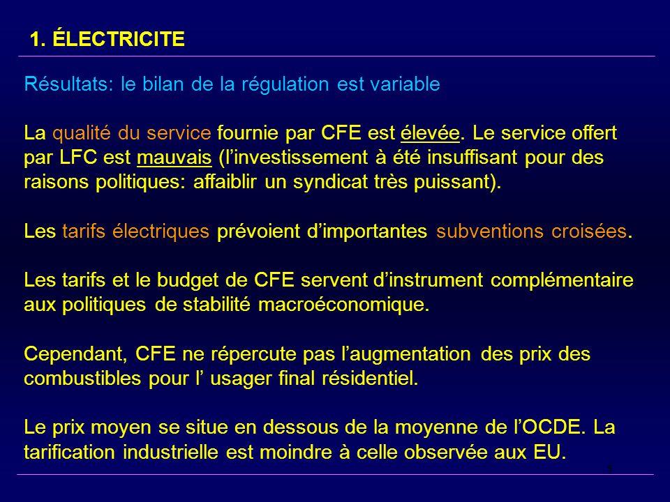 5 Résultats: le bilan de la régulation est variable La qualité du service fournie par CFE est élevée.