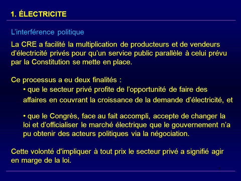 7 Linterférence politique La CRE a facilité la multiplication de producteurs et de vendeurs délectricité privés pour quun service public parallèle à celui prévu par la Constitution se mette en place.