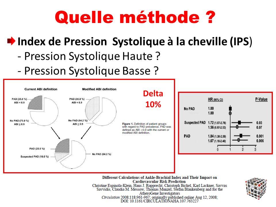 Quelle méthode .Index de Pression Systolique à la cheville (IPS) - Pression Systolique Haute .