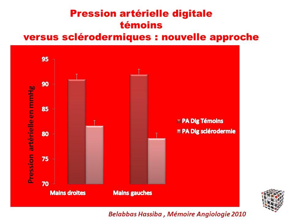 Pression artérielle digitale témoins versus sclérodermiques : nouvelle approche Belabbas Hassiba, Mémoire Angiologie 2010 Pression artérielle en mmHg