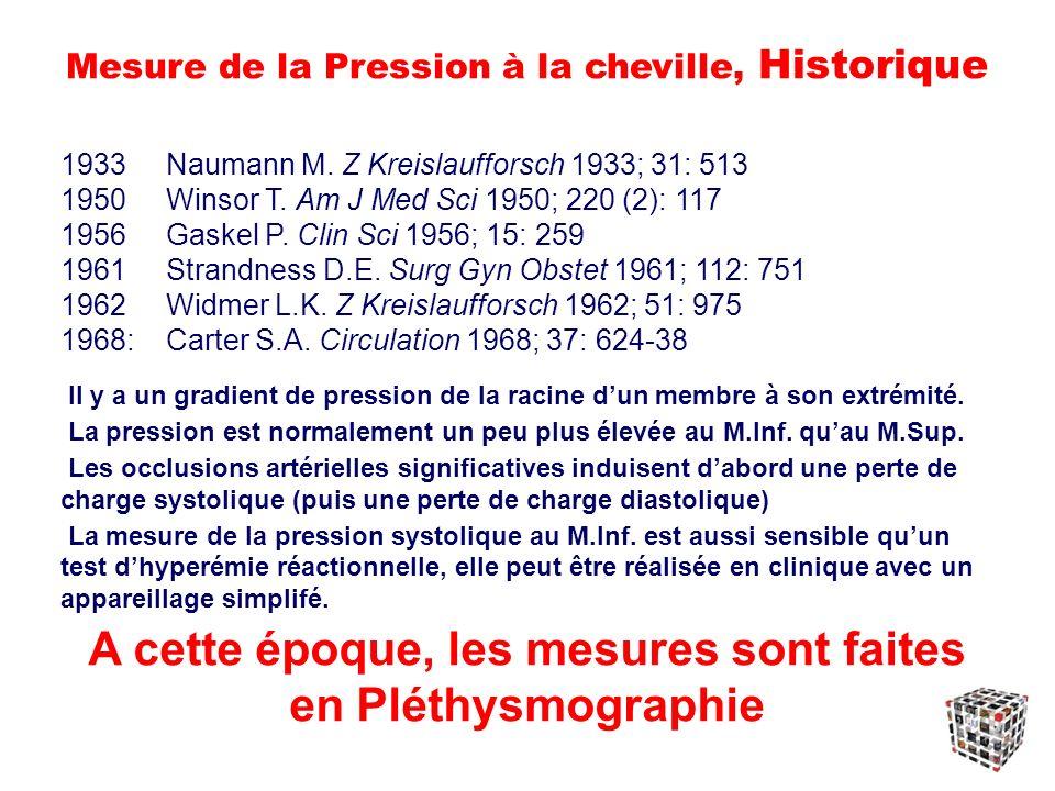 Mesure de la Pression à la cheville, Historique 1933Naumann M.