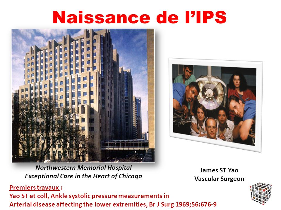 Naissance de lIPS Premiers travaux : Yao ST et coll, Ankle systolic pressure measurements in Arterial disease affecting the lower extremities, Br J Su