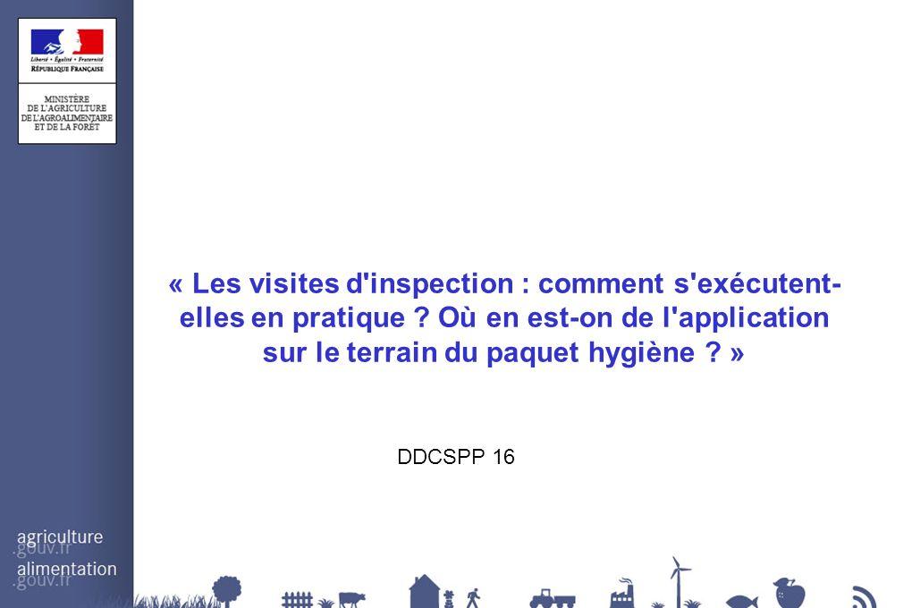 « Les visites d'inspection : comment s'exécutent- elles en pratique ? Où en est-on de l'application sur le terrain du paquet hygiène ? » DDCSPP 16