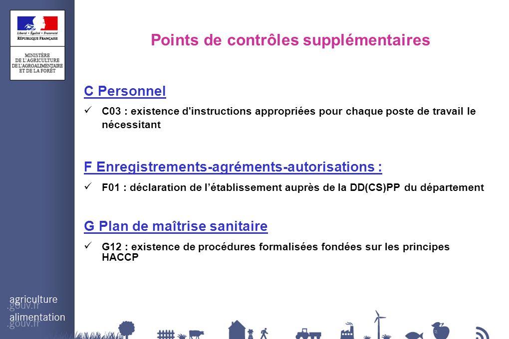Points de contrôles supplémentaires C Personnel C03 : existence d'instructions appropriées pour chaque poste de travail le nécessitant F Enregistremen